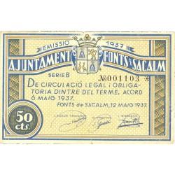 España 50 Cts. 1937. FONS DE SACALM-(Gi). MBC/MBC+. (Doblez). (Ayuntamiento-Serie B). TU. 1210 - LGC. 660 A