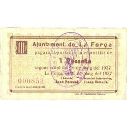 España 1 Ptas. 1937. FORÇA.-La-(St.Pere Vilamajor)-(B). MBC. (Doblez). (Ayuntamiento). RARO/A. TU. 1214 a - LGC. 662 B