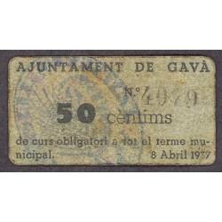 España 50 Cts. 1937. GAVA-(B). MBC/MBC+. (Ayuntamiento). MUY RARO/A. TU. 1279 c - LGC. 704 A