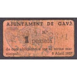 España 1 Ptas. 1937. GAVA-(B). MBC/MBC+. (Ayuntamiento). TU. 1278 d - LGC. 704 B