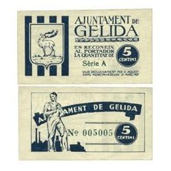España 5 Cts. 1937. GELIDA-(B). SC. (Ayuntamiento-Serie A). TU. 1289 - LGC. 706 A