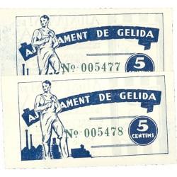España 5 Cts. 1937. GELIDA-(B). SC. (Ayuntamiento-Serie A)-(PAREJA Correlativa). TU. 1289 - LGC. 706 A