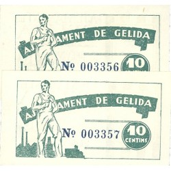 España 10 Cts. 1937. GELIDA-(B). SC. (Ayuntamiento-Serie A)-(PAREJA Correlativa). TU. 1288 - LGC. 706 B