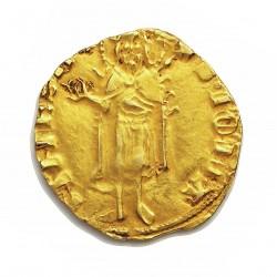 Aragon.-R.de 1 Florin. 1336. 1387. Perpignan (Rosa). MBC. Anv: IOHA-NNES B (Rosa). Rev: ARAG O REX P. AU. 3,3gr. Ø20mm. CRU. 38