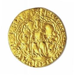 Cataluña.-Cond.de 1 Ral d'Or. 1336. 1387. Mallorca. (VENERA). EBC-/EBC. Anv: (Rey sedente en trono y cetro, a su drecha venera.