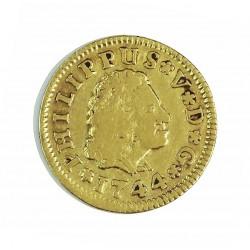 España ½ Escudos. 1744. S-(Sevilla). P*J. MBC-/MBC. AU. 1,69gr. Ø15mm. CT. 513 - KM. 361.2