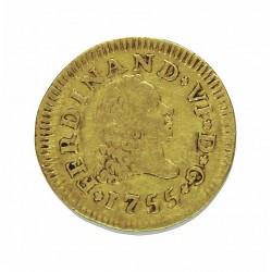 España ½ Escudos. 1755. M-(Madrid). JB. MBC-. AU. 1,69gr. Ø15mm. CT. 225 - KM. 378