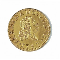 España ½ Escudos. 1757. M-(Madrid) ?. J.(M).H. EBC+/SC-. -. (Falsa de epoca?). AU. 2,07gr. Ø15,5mm