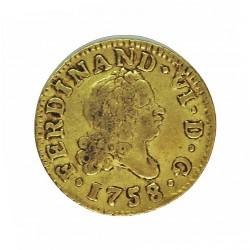 España ½ Escudos. 1758. M-(Madrid). JB. MBC-/MBC. AU. 1,69gr. Ø15mm. CT. 229 - KM. 378