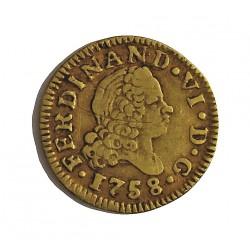 España ½ Escudos. 1758. M-(Madrid). J.B. MBC-. (Finas rayitas anv.). AU. 1,69gr. Ø15mm. CT. 229 - KM. 374