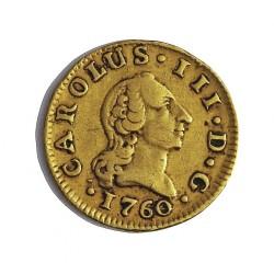 España ½ Escudos. 1760. M-(Madrid). JP. MBC. (Imagen tipo). (Corona lisa). AU. 1,69gr. Ø15mm. CT. 678 - KM. 381.1