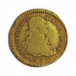 España 1 Escudos. 1803. P-(Popayan). JF. BC+/MBC-. AU. 3,383gr. Ø19mm. CT. 492 - KM. 56.2