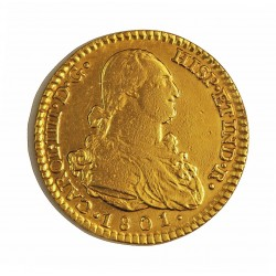 España 2 Escudos. 1801. (M)-Madrid. FA. BC+. (Sirio como joya. Limpiada). AU. 6,77gr. Ø22mm. CT. 281 - KM. 435.1