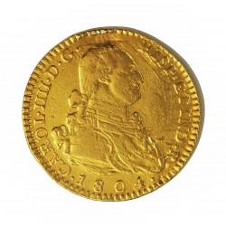 España 2 Escudos. 1804. (M)-Madrid. FA. RC-/RC. (Sirvio como joya.). AU. 6,77gr. Ø22mm. CT. 284 - KM. 435.1