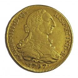 España 8 Escudos. 1797. Sº(Santiago deChile). DA. MBC/MBC+. (Bonita. Rev.precioso). AU. 27,067gr. Ø37mm. CT. 134 - KM. 54