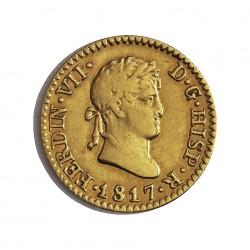 España ½ Escudos. 1817. M-(Madrid). GJ. MBC+/EBC-. AU. 1,69gr. Ø14,5mm. CT. 311