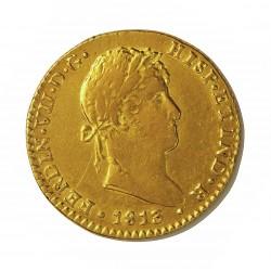 España 2 Escudos. 1813. C-(Cadiz). C.J. MBC+. (Marca de Ceca grande). AU. 6,77gr. Ø22mm. CT. 151 - KM. 468