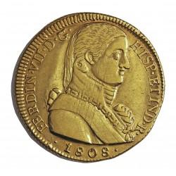 España 8 Escudos. 1808. Sº(Santiago deChile). F.J. MBC/MBC-. (Lev.rayitas de afinaje en anv..Hojitas rev.). ESCASO/A. (Tipo Al