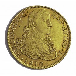 España 8 Escudos. 1810. Mº-(Mejico). HJ. MBC/MBC+. AU. 27,067gr. Ø36mm. CT. 39 - KM. 160