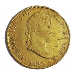 España 8 Escudos. 1820. LM-(Lima). J.P. MBC-/MBC. (Pqñas hojitas en rev.). AU. 27,067gr. Ø37mm. CT. 33 - KM. 129.1