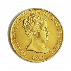 España 80 Reales. 1839. Barcelona. P.S. EBC-/MBC-. (Cospel defectuoso en reverso). AU. 6,75gr. Ø21mm. CT. 55 b