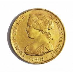 España 100 Reales. 1861. Sevilla. MBC. (Pqña soldadura reparada en cto.). AU. 8,337gr. Ø22mm. CT. 39