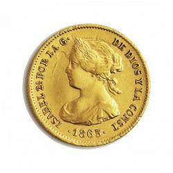España 2 Escudos. 1865. Madrid. MBC. AU. 1,677gr. Ø15mm. CT. 118 - KM. 630