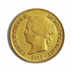 España 4 Pesos. 1862. Manila. MBC/MBC+. (Hojita no saltada en anv.). AU. 6,76gr. Ø21mm. CT. 122 - HG. 631