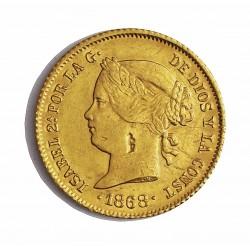 España 4 Pesos. 1868. Manila. MBC-/MBC. (Hojita en cuello y rayitas anv.). AU. 6,674gr. Ø21mm. CT. 128