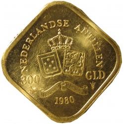 Antillas Holandesas 300 Gulden. 1980. SC-/SC. AU. 5,04gr. 18x18mm. KM. 29.1