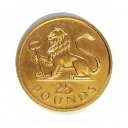 Gibraltar 25 Libra/Pound. 1975. SC. (250º Anv.introducción de la £). AU. 7,77gr. Ø22mm. KM. 7