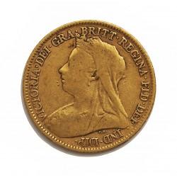 Gran Bretaña ½ Libra/Pound. 1894. Londres. BC/BC+. (Tipo Manto/Velo). AU. 3,994gr. Ø19mm. KM. 12