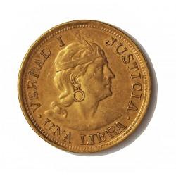 Peru 1 Libra/Pound. 1909. Lima. G.OZ.G. SC-/SC. AU. 7,988gr. Ø22mm. KM. 207