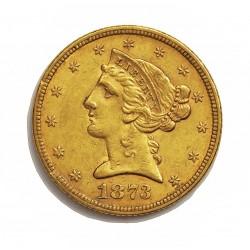 Usa 5 Dolar. 1873. Filadelfia. MBC. (Marquitas). (3 Abierto)-(Tipo Liberty). AU. 8,36gr. Ø22mm. KM. 101