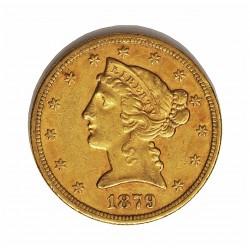 Usa 5 Dolar. 1879. S-(St.Francisco). MBC. (Marquitas). (Tipo Liberty). AU. 8,36gr. Ø22mm. KM. 101