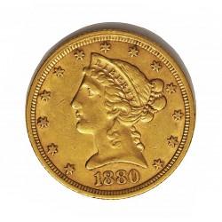 Usa 5 Dolar. 1880. Filadelfia. MBC-/MBC. (Marquitas). (Imagen tipo). (Tipo Liberty). AU. 8,36gr. Ø22mm. KM. 101