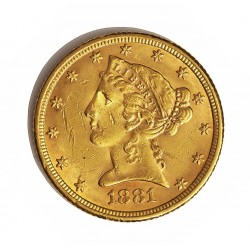 Usa 5 Dolar. 1881. Filadelfia. MBC-. (Marquitas). (Tipo Liberty). AU. 8,36gr. Ø22mm. KM. 101