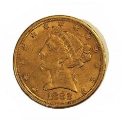 Usa 5 Dolar. 1882. Filadelfia. MBC-. (Marquitas). (Tipo Liberty). AU. 8,36gr. Ø22mm