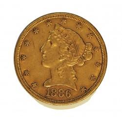 Usa 5 Dolar. 1886. Filadelfia. MBC-/MBC. (Pqña.rayita y marquitas anv.). (Tipo Liberty). AU. 8,36gr. Ø22mm. KM. 101
