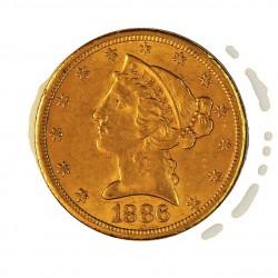 Usa 5 Dolar. 1886. S-(St.Francisco). MBC. (Lev.marquitas). (Tipo Liberty). AU. 8,36gr. Ø22mm. KM. 101