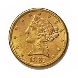 Usa 5 Dolar. 1887. S-(St.Francisco). EBC/EBC+. (Insig.marquitas). (Tipo Liberty). AU. 8,36gr. Ø22mm. KM. 101