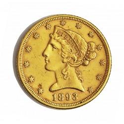 Usa 5 Dolar. 1893. Filadelfia. MBC/MBC+. (marquitas). (Tipo Liberty). AU. 8,36gr. Ø22mm. KM. 101