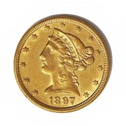 Usa 5 Dolar. 1897. Filadelfia. MBC-/MBC. (Marquitas). (Tipo Liberty). AU. 8,36gr. Ø22mm. KM. 101