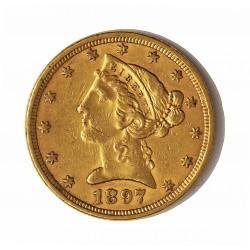 Usa 5 Dolar. 1897. Filadelfia. MBC-. (Rayita anv..Marquitas). (Tipo Liberty). AU. 8,36gr. Ø22mm. KM. 101