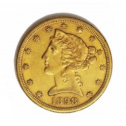 Usa 5 Dolar. 1898. S-(St.Francisco). MBC-. (Marquitas). (Tipo Liberty). AU. 8,36gr. Ø22mm. KM. 101