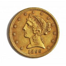 Usa 5 Dolar. 1899. Filadelfia. MBC-/MBC. (Lev.marquitas). (Tipo Liberty). AU. 8,36gr. Ø22mm. KM. 101