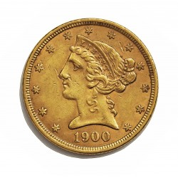 Usa 5 Dolar. 1900. Filadelfia. MBC-/MBC. (Insig.marquitas). (Tipo Liberty). AU. 8,36gr. Ø22mm. KM. 101