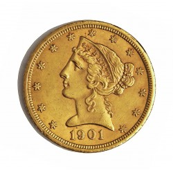 Usa 5 Dolar. 1901. S-(St.Francisco). MBC-/MBC. (Lev.marquitas). (Tipo Liberty). AU. 8,36gr. Ø22mm. KM. 101