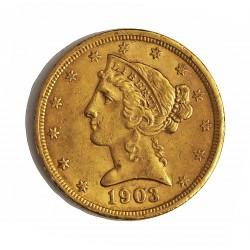 Usa 5 Dolar. 1903. S-(St.Francisco). MBC+. (Lev,marquitas). (Tipo Liberty). AU. 8,36gr. Ø22mm. KM. 101