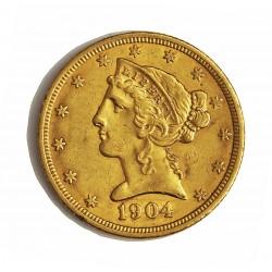 Usa 5 Dolar. 1904. Filadelfia. MBC/MBC+. (Insig.marquitas). (Tipo Liberty). AU. 8,36gr. Ø22mm. KM. 101